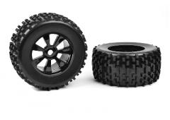 C-00180-378 Off-Road 1/8 Monster Truck Tires - Gripper - Glued on Black Rims - 1 pair